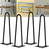 Patas de horquilla de metal para muebles de 10 pulgadas, patas de extremo de mesa de centro industrial de alta resistencia de 25 cm con tornillos y protectores de piso, mesa de altura estándar estab