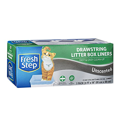Fresh Step Drawstring Cat Litter Box Liners, Unscented, Jumbo Size, 36' x 19' - 7 Count | Kitty Litter Bags