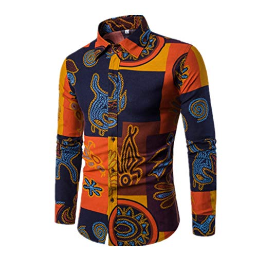 Chunmei Men's Shirt Long-Sleeve Pattern Paisley Casual Shirt Regular fit Easy Ironing Classic Retro Shirt with Floral Pattern Multi-Colored t-Shirt Button-Down Shirts Lightweight Breathable top XXL