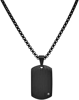 Stainless Steel Men's Dog Tag Necklace with Cubic Zirconia Stone