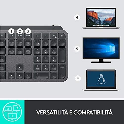 Logitech MX Keys Tastiera Wireless Illuminata, Bluetooth, Digitazione tattile, Tasti Retroilluminati, USB-C, PC/Mac/Laptop Windows/Linux/iOS/Android, Layout Italiano QWERTY, Nero (Grafite)