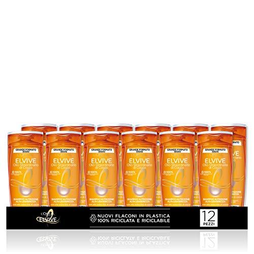 L'Oréal Paris Multi Pack Shampoo Elvive Olio Straordinario Cocco, Per Capelli da Normali a Secchi, 300 ml, Confezione da 12