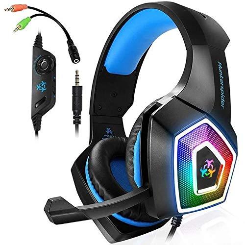 Sishangm HH-Cool - Auriculares portátiles V1 de 3,5 mm RGB con control de cable luminoso y colorido para juegos, longitud del cable: 2,2 m (color: negro y azul)