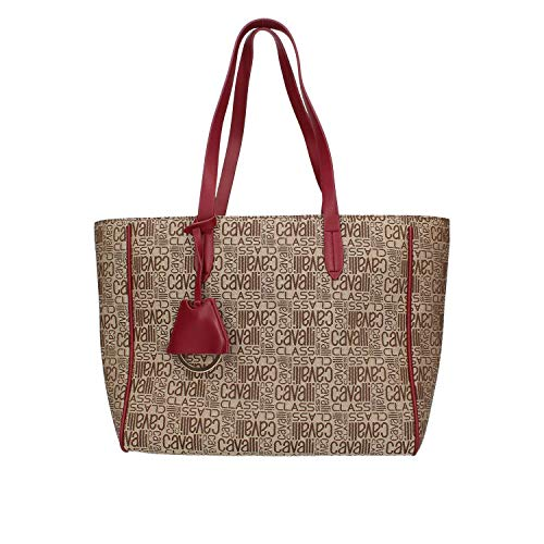 CAVALLI CLASS BORSA DONNA jacquard 004 medium shopping bag RED C83PWCRK0042060