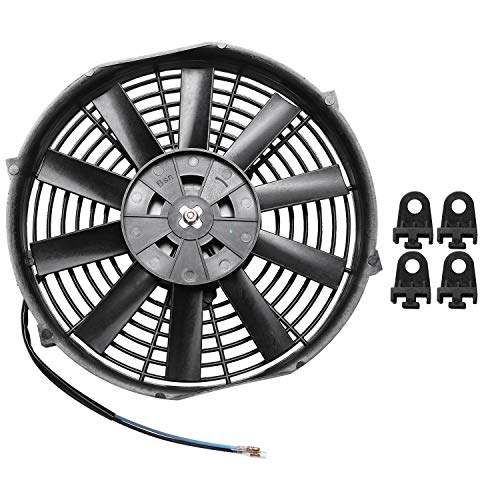 Sunsdew 10 Pulgadas 12V 80W 2100Rpm Recta Hoja Negra RefrigeracióN EléCtrica Radiador Tanque Ventilador Kit de Montaje Universal