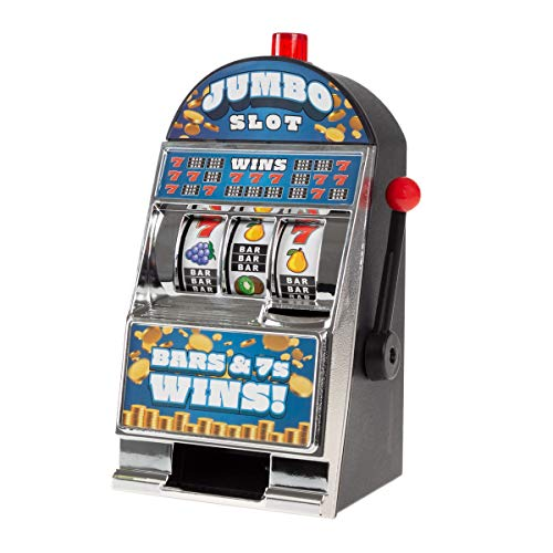 Trademark Gameroom Slot Machine Coin Bank – Electronic Realistic Mini Tabletop Novelty Casino Style Toy with Lever for Kids amp Adults Burning 7S