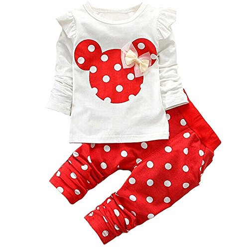Baby Girl Clothes Infant Outfits Set 2 Pieces Long Sleeved Tops + Pants (18-24 Months, Red)