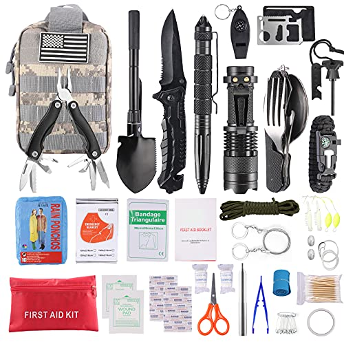 MSTROL Emergency Survival Gear Kit Equipment, Men Military Tactical First Aid Survival Kit Supplies with Molle Pouch for Outdoor Camping, Hiking, Wilderness, Earthquake, Car, SMT001