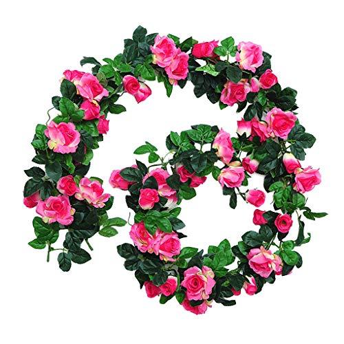 24 Jefes Artificial Vid de Rose Boda de la Guirnalda del Partido Folar Corona de Flores Artificiales Decoración paño de Seda Falso Guirnalda de Rose, Rojo de Rose