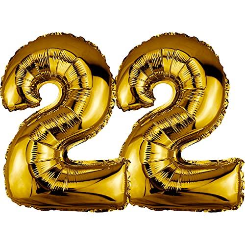 DekoRex Palloncino stagnola Compleanno Decorazione per l'aria 40cm Oro Numero: 22