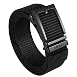 JUKMO Ratchet Belt for Men, Nylon Web Tactical Gun Belt with Automatic Slide Buckle (Black, Medium)