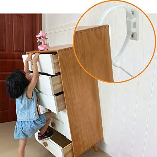 YEYIT kit di ancoraggio per mobili anti-ribaltamento con cinghia per mobili (10 pezzi per confezione), ancoraggio a muro per mobili anti-ribaltamento regolabile, per bambini impermeabile