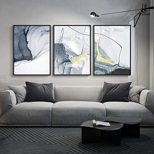 YQLKC Lienzo Moderno Pintura Acuarela Línea Arte Carteles Impresiones Arte Abstracto Pintura de Pared para Sala de Estar Decoración del hogar 27.5'x39.3 (70x100cm) x3 Sin Marco