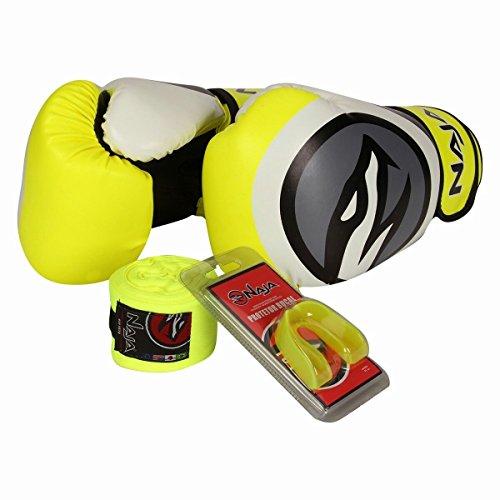 Kit Boxe Muay Thai - Luva Colors Flúor Amarela + Bandagem (2,30 metros) Preta + Protetor Bucal Simples Transparente - Naja - 12 OZ