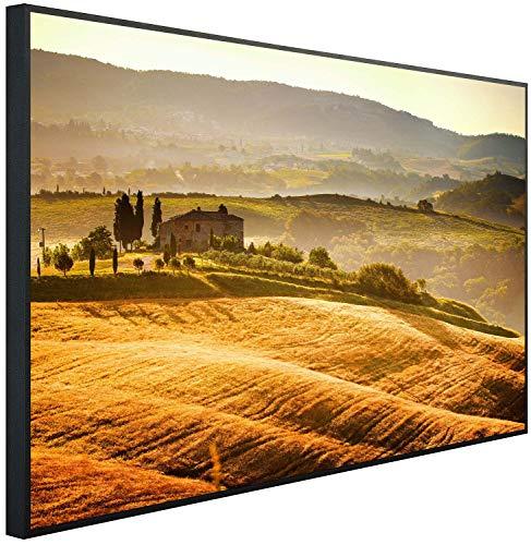 Ecowelle Infrarotheizung mit Bild | 600 Watt | 60x100 cm | Infrarot Heizung| | Made in Germany| d 18 ländliche Landschaft in der Toskana