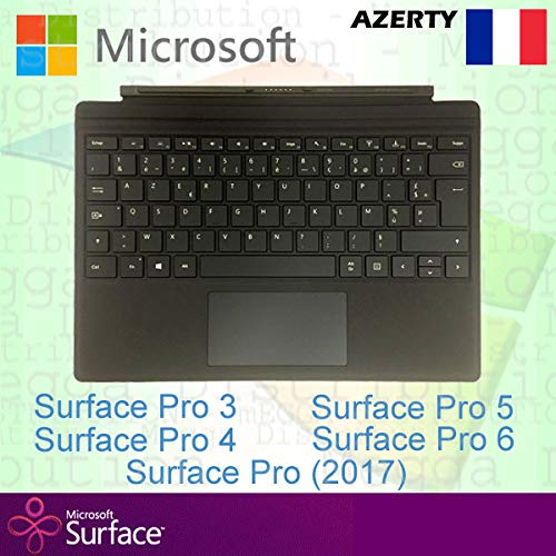 Microsoft Surface Pro Type Cover France/French AZERTY Backlit Keyboard, Black - Compatible with Surface Pro 3, Pro 4, Pro (2017), Pro 5, Pro 6 and Pro 7