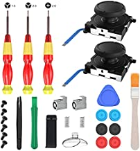 innoAura Joycon Joystick Replacement, 27 in 1 Repair Tool Kit with 2-Pack 3D Analog Stick, 2 Metal Buckles,3 Screwdrivers, Back Shell Kickstand, Pry Tools for Joycon/NS Switch/Switch Lite