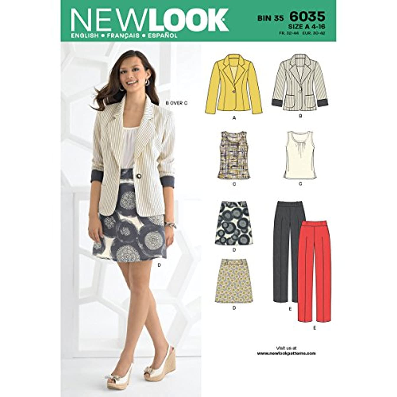 New Look sewing pattern 6034: Misses' Separates size A (8-10-12-14-16-18)