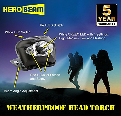 HeroBeam LED Head Torch - Pocket-Sized Headlamp for Running, Dog Walking, Fishing, Biking, Camping, Watching Nature, Reading, Cycling or DIY - White/Red Lighting Modes - Lightweight, Comfortable and Weatherproof - includes Quality Brand Batteries
