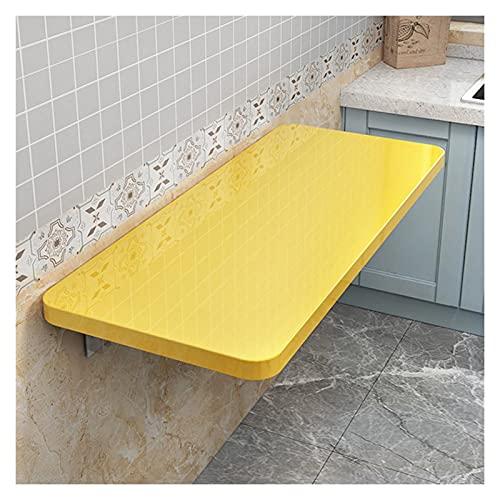 ZWYSL Escritorios Plegables Pared Mesa Flotante Resistente para Usar como Escritorio Computadora, Escritorio Oficina En Casa, Encimera La Cocina (Color : Yellow, Size : 80x50cm)
