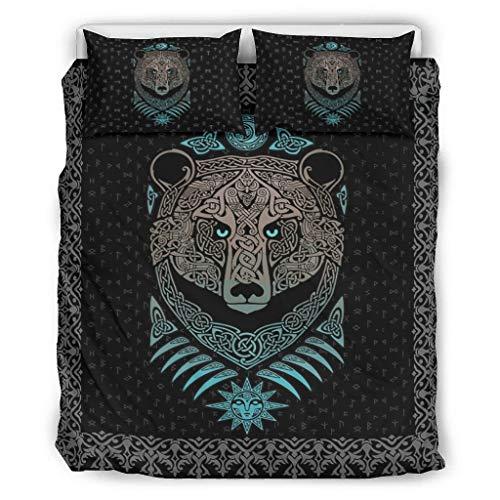 DAMKELLY Store Colcha de oso vikingo, suave y multicolor, juego de ropa de cama, 1 funda de edredón y 2 fundas de almohada, color blanco, 229 x 229 cm