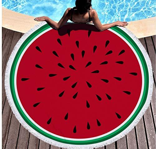 Vanzelu Verano Redondo Grande Toalla De Playa Sandía Roja con Borlas Bloqueador Solar para Nado Natación Planeando Deporte En La Playa Estera De Yoga Toalla Estera De Picnic 150x150cm Al Aire Libre