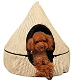 PLS Birdsong Pointy Dog Cave Cuddle Dog Bed, Soft Dog House, Two Modes, Pet Bed, Dog Beds for Small Dogs, Completely Washable, Beige, Small