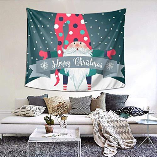 Feliz Navidad Papá Noel tapiz tapiz dormitorio sala de estar manta colgante en la pared impresión 3D decoración del hogar 60 x 129.5 cm Folklore Elfos Nordic Merry Christmas 12