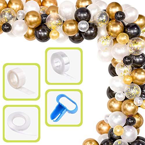 Yiran Balloon Arch & Garland Kit, 80Pcs Black, White, Gold Confetti & Metal Latex Balloons with 1pc Tying Tool, Balloon Strip Tape, Ribbon & Glue Dots for Graduation Wedding Birthday Party Decoration