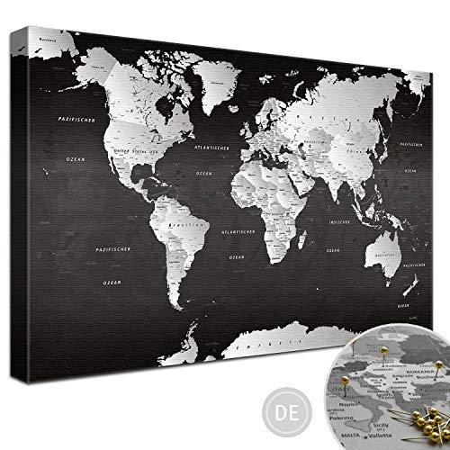 """LANA KK – Ausführung – Weltkarte Leinwandbild - Kork Pinnwand zum pinnen Deiner Reiseziele – """"Weltkarte SW"""" - deutsch - Kunstdruck auf 4cm Rahmen in schwarz, fertig gerahmt in 120x80cm"""
