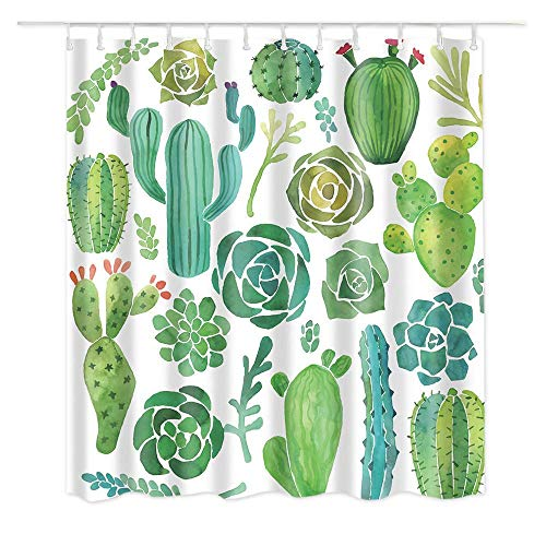 """Dodou Shower Curtain Cactus Tropical Plant Pattern Garden Theme Digital Printing Waterproof Polyester Shower Curtain (72"""" x 72"""")"""