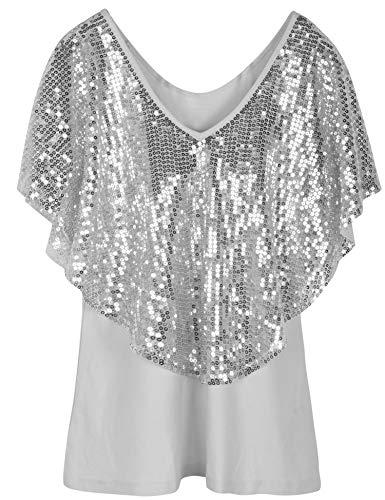PrettyGuide Women's Sequin Party Dressy Top Glitter Short Sleeve Slim Classic Shirt Blouse L Silver