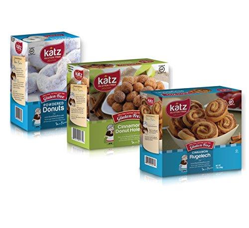 Katz Gluten Free Variety Pack | 1 Cinnamon Rugelach, 1 Powdered Donuts, 1 Cinnamon Donut Holes | Dairy Free, Nut Free, Soy Free, Gluten Free | Kosher (1 Pack of each)