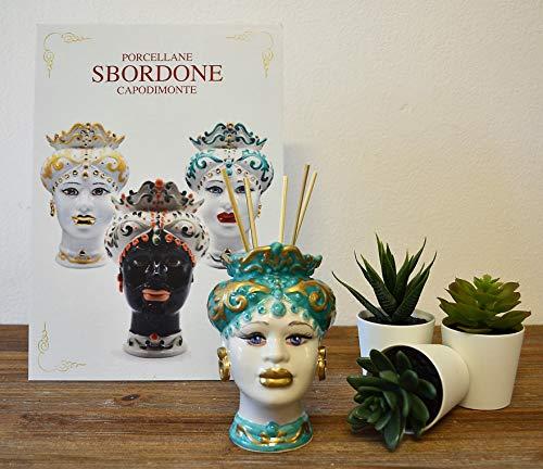 generica Testa di Moro in Porcellana H. 12 Donna TM56/1 Made in Italy SBORDONE