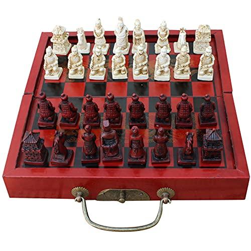 Tamaño pequeño plegable antiguo juego de ajedrez, terracota de madera guerreros realistas piezas juego de mesa Personajes Parenting Regalos Entretenimiento