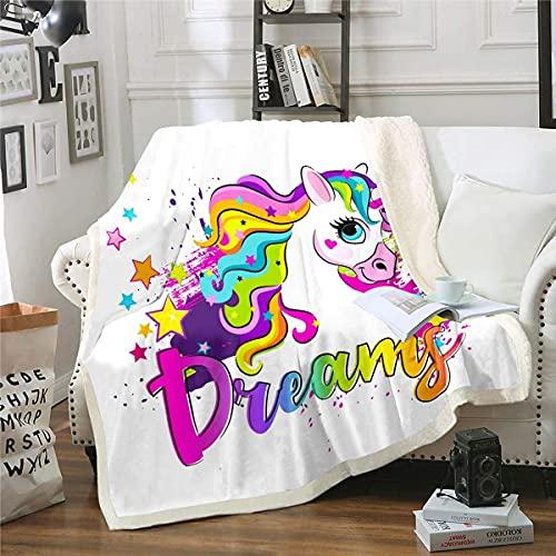 Manta de sherpa de unicornio con estampado de caballo soñador para silla, sofá, sofá, fantasía, temática de unicornio, manta colorida para habitación de teñido anudado de 80 x 60 pulgadas