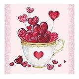 Tovagliolo Ambiente Motivo: Cup Of Hearts-Cuori per amore, San Valentino, Matrimonio-20tovaglioli per confezione, 33x 33cm