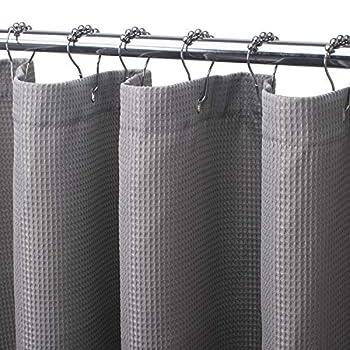 AmazerBath Waffle Shower Curtain Heavy Duty Fabric Shower Curtains with Waffle Weave Hotel Quality Bathroom Shower Curtains 72 x 72 Inches  Grey