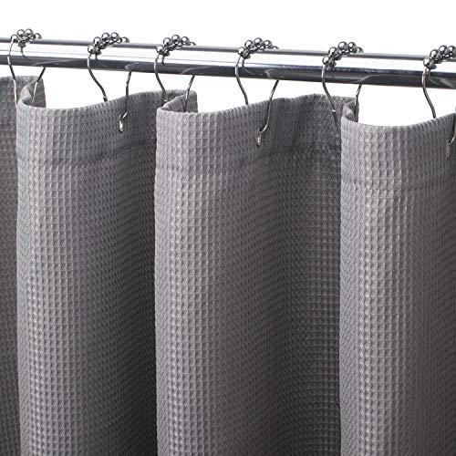 AmazerBath Waffle Shower Curtain, Heavy Duty Fabric Shower Curtains with Waffle Weave Hotel Quality Bathroom Shower Curtains, 72 x 72 Inches (Grey)