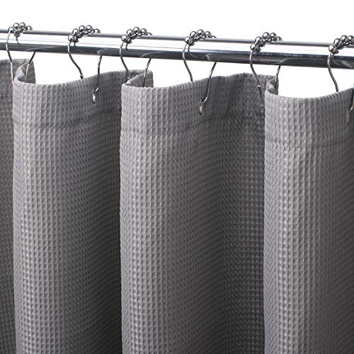 AmazerBath Waffle Shower Curtain, Heavy Duty Fabric Shower Curtains with Waffle Weave Hotel Quality Bathroom Shower Curtains, 72 x 84 Inches (Grey)