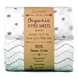 Sheets for Guava Lotus Travel Crib (Set of 2) - 100% Organic Cotton Crib Sheets, Baby and Toddler, Fitted Crib Sheets, for Boys & Girls (for The New 4 TAB Mattress ONLY) (Grey and White)