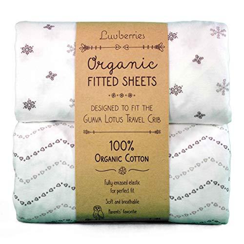 Lençóis de berço para viagem Guava Lotus (conjunto de 2) – Lençóis de berço 100% algodão orgânico, para bebês e crianças, lençóis de berço ajustados, para meninos e meninas (apenas para os novos colchões de 4 fios) (cinza e branco)