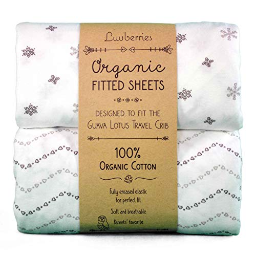 Guava Lotus Travel Crib Sheets (Set of 2) - 100% Organic Cotton Crib Sheets, Baby and Toddler, Fitted Crib Sheets,...