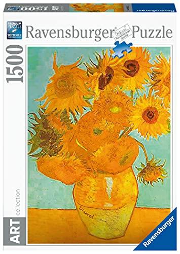 Ravensburger Puzzle 1500 pezzi, Dimensioni Puzzle: 80x60 cm, Collezione Arte, Puzzles da adulti, Dipinti, Quadri Famosi, Puzzle Art Collection, Museum, Van Gogh: Vaso con Girasoli