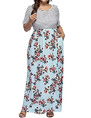 Allegrace Women's Plus Size Floral Print Striped Patchwork Maxi Dress Short Sleeve Long Dresses