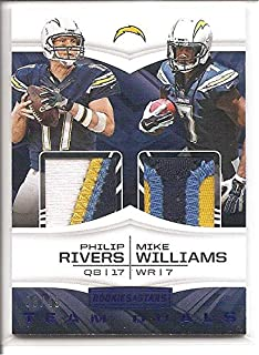 Philip Rivers/Mike Williams Los Angeles Chargers 2017 Panini Rookie and Stars Multi-Color Patch Dual Jersey Memorabilia Football Card #8/49