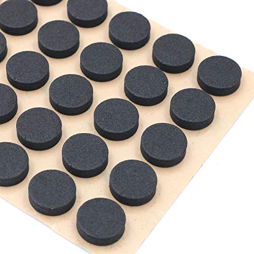 Furniture EVA Foam Pads 3/8' (10mm) Diameter Round 3M Self Adhesive Protects Kitchen Cabinets, Drawers, Desks and Furniture Against Bumps and Scratches 200 Pack - Black