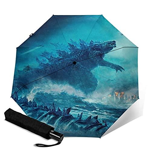 Godzilla Vs Kong Automatischer Dreifach Faltbarer Regenschirm Wasserdicht Und Sonnenschutz, Robust Und Langlebig, Anti-Ultraviolett Faltbarer Reise-Regenschirm, Kann Automatisch Öffnen Und Schließen