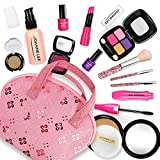BeebeeRun Pretend Makeup Kit for Girls, Beauty Basic 13 Piece Kids Makeup Set,Dress Up Pretend Play Toys Comes with Cosmetic Bag,Little Girls Toys for Ages 3,4,5,6,Great for Birthday Xmas Gift