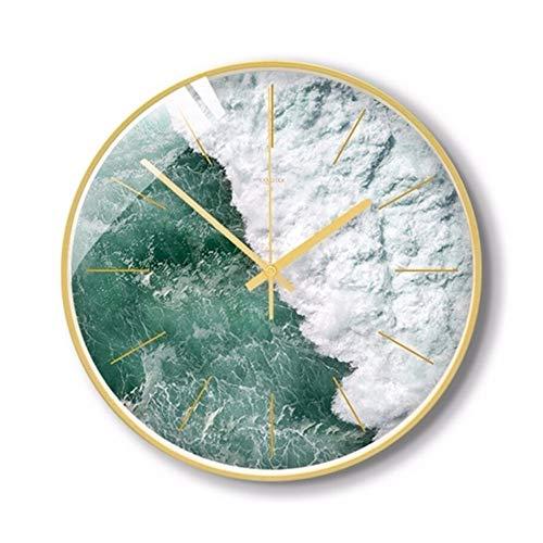 ZXCVB Reloj de pared 3D de cuarzo, silencioso, reloj de pared de 30 cm, diseño moderno para sala de estar, decoración del hogar (color: gris, tamaño de la hoja: 14 pulgadas, carcasa dorada)